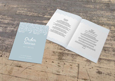 Order of service printing for funerals